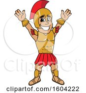 Clipart Of A Spartan Or Trojan Warrior School Mascot Character Cheering Or Welcoming Royalty Free Vector Illustration by Toons4Biz