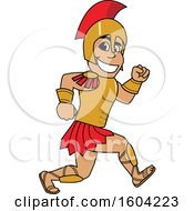Clipart Of A Spartan Or Trojan Warrior School Mascot Character Running Royalty Free Vector Illustration by Toons4Biz