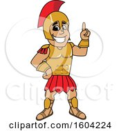 Clipart Of A Spartan Or Trojan Warrior School Mascot Character Holding Up A Finger Royalty Free Vector Illustration by Toons4Biz