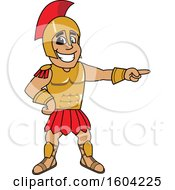 Clipart Of A Spartan Or Trojan Warrior School Mascot Character Pointing Royalty Free Vector Illustration by Toons4Biz