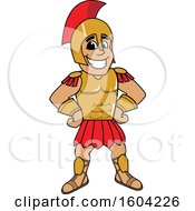 Spartan Or Trojan Warrior School Mascot Character With Hands On His Hips