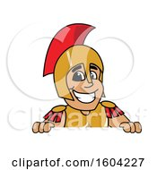 Clipart Of A Spartan Or Trojan Warrior School Mascot Character Over A Sign Royalty Free Vector Illustration by Toons4Biz