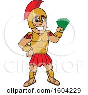 Clipart Of A Spartan Or Trojan Warrior School Mascot Character Holding Cash Money Royalty Free Vector Illustration by Toons4Biz