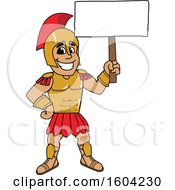 Clipart Of A Spartan Or Trojan Warrior School Mascot Character Holding A Blank Sign Royalty Free Vector Illustration by Toons4Biz