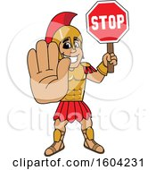 Clipart Of A Spartan Or Trojan Warrior School Mascot Character Holding A Stop Sign Royalty Free Vector Illustration