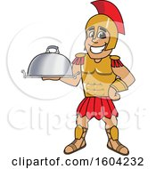 Clipart Of A Spartan Or Trojan Warrior School Mascot Character Holding A Platter Royalty Free Vector Illustration by Toons4Biz
