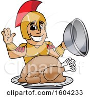 Clipart Of A Spartan Or Trojan Warrior School Mascot Character Serving A Thanksgiving Turkey Royalty Free Vector Illustration by Toons4Biz