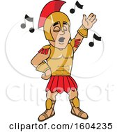 Clipart Of A Spartan Or Trojan Warrior School Mascot Character Singing Royalty Free Vector Illustration by Toons4Biz