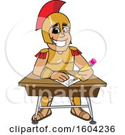 Clipart Of A Spartan Or Trojan Warrior School Mascot Character Writing At A Desk Royalty Free Vector Illustration by Toons4Biz
