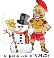 Clipart Of A Spartan Or Trojan Warrior School Mascot Character With A Christmas Snowman Royalty Free Vector Illustration