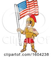 Clipart Of A Spartan Or Trojan Warrior School Mascot Character Holding An American Flag Royalty Free Vector Illustration by Toons4Biz