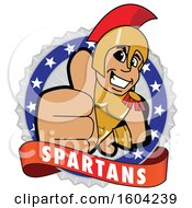 Clipart Of A Spartan Or Trojan Warrior School Mascot Character Holding A Thumb Up On A Badge Royalty Free Vector Illustration by Toons4Biz