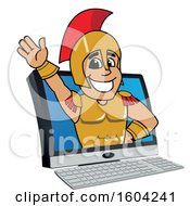 Clipart Of A Spartan Or Trojan Warrior School Mascot Character Emerging From A Computer Screen Royalty Free Vector Illustration by Toons4Biz