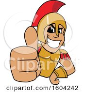 Clipart Of A Spartan Or Trojan Warrior School Mascot Character Holding A Thumb Up Royalty Free Vector Illustration by Toons4Biz