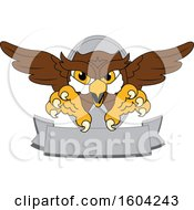 Clipart Of A Brown And White Owl School Mascot Character Swooping Over A Banner Royalty Free Vector Illustration by Toons4Biz