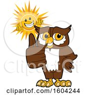 Clipart Of A Brown And White Owl School Mascot Character And Happy Sun Giving Thumbs Up Royalty Free Vector Illustration