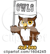 Poster, Art Print Of Brown And White Owl School Mascot Character Holding A Flag