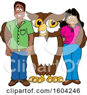 Clipart Of A Brown And White Owl School Mascot Character With Parents Royalty Free Vector Illustration