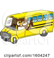Clipart Of A Brown And White Owl School Mascot Character Driving A School Bus Royalty Free Vector Illustration