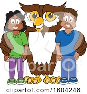 Brown And White Owl School Mascot Character With Students