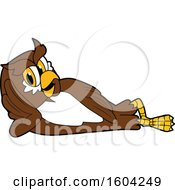 Brown and White Owl School Mascot Character Relaxing