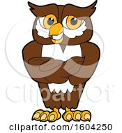 Clipart Of A Brown And White Owl School Mascot Character With Folded Arms Royalty Free Vector Illustration