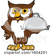 Brown and White Owl School Mascot Character Holding a Platter