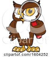 Clipart Of A Brown And White Owl School Mascot Character Looking Through A Magnifying Glass Royalty Free Vector Illustration