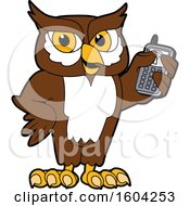 Clipart Of A Brown And White Owl School Mascot Character Holding A Cell Phone Royalty Free Vector Illustration by Toons4Biz