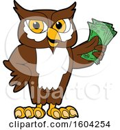 Clipart Of A Brown And White Owl School Mascot Character Holding Cash Money Royalty Free Vector Illustration by Toons4Biz