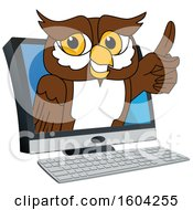 Clipart Of A Brown And White Owl School Mascot Character Emerging From A Computer Royalty Free Vector Illustration