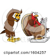 Brown and White Owl School Mascot Character Watching a Turkey Bird Weigh Itself