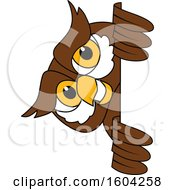 Clipart Of A Brown And White Owl School Mascot Character Looking Around A Sign Royalty Free Vector Illustration by Toons4Biz