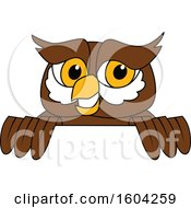 Clipart Of A Brown And White Owl School Mascot Character Over A Sign Royalty Free Vector Illustration by Toons4Biz