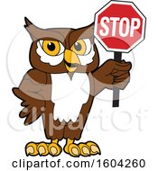 Clipart Of A Brown And White Owl School Mascot Character Holding A Stop Sign Royalty Free Vector Illustration