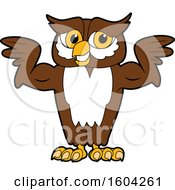 Clipart Of A Brown And White Owl School Mascot Character Flexing His Muscles Royalty Free Vector Illustration by Toons4Biz
