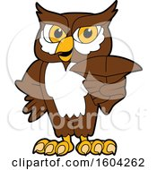 Clipart Of A Brown And White Owl School Mascot Character Royalty Free Vector Illustration by Toons4Biz