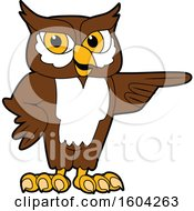 Clipart Of A Brown And White Owl School Mascot Character Pointing Royalty Free Vector Illustration by Toons4Biz