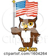 Poster, Art Print Of Brown And White Owl School Mascot Character Holding An American Flag