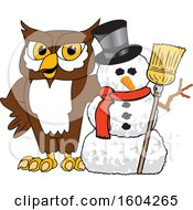 Clipart Of A Brown And White Owl School Mascot Character With A Christmas Snowman Royalty Free Vector Illustration