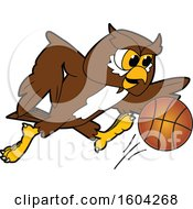 Poster, Art Print Of Brown And White Owl School Mascot Character Playing Basketball