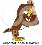 Poster, Art Print Of Brown And White Owl School Mascot Character Holding A Baseball Bat