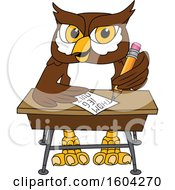Clipart Of A Brown And White Owl School Mascot Character Writing At A Desk Royalty Free Vector Illustration by Toons4Biz