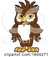 Clipart Of A Brown And White Owl School Mascot Character With A Mohawk And Hands On His Hips Royalty Free Vector Illustration by Toons4Biz
