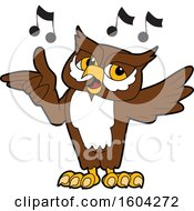 Clipart Of A Brown And White Owl School Mascot Character Singing Royalty Free Vector Illustration by Toons4Biz