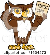 Clipart Of A Brown And White Owl School Mascot Character Holding A Report Card Royalty Free Vector Illustration by Toons4Biz