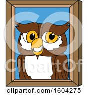 Clipart Of A Brown And White Owl School Mascot Character Portrait Royalty Free Vector Illustration by Toons4Biz