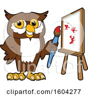 Poster, Art Print Of Brown And White Owl School Mascot Character Painting A Canvas