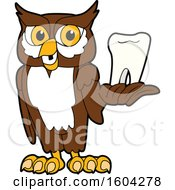 Clipart Of A Brown And White Owl School Mascot Character Holding A Tooth Royalty Free Vector Illustration by Toons4Biz
