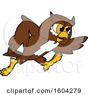 Clipart Of A Brown And White Owl School Mascot Character Running Royalty Free Vector Illustration by Toons4Biz